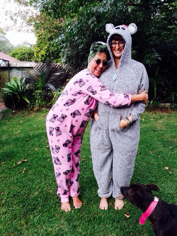 Tutti and me, onesie-twins.