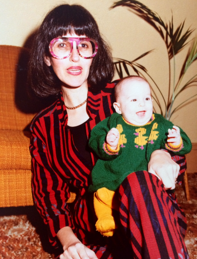 She even makes the '80s look good. That's me on her knee, less bald, still funny-looking.